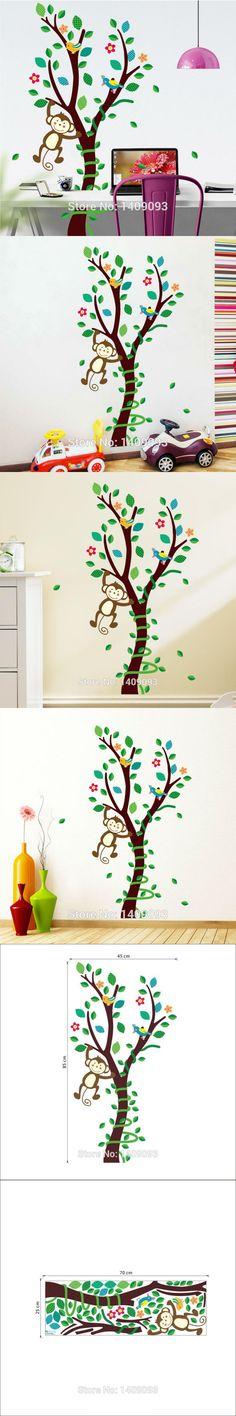 Monkey Tree Wall Sticker Nursery Home Decor Creative Cartoon Tree Animal Wall Decal Sticker $6.49