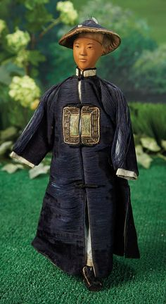 Chinese Wooden Door of Hope Man with Rare Hat. Lot # 65