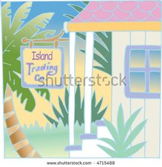 """""""Island Trading Company"""" sign in front of shop."""