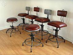 Chaise tabouret industriel atelier métal et cuir Décoration Paris - leboncoin.fr