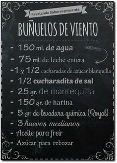 me ~ Revelando Sabores: Buñuelos de viento My Recipes, Mexican Food Recipes, Sweet Recipes, Baking Recipes, Mexican Bread, Mexican Dishes, Mexican Pastries, Mexican Cookies, Guatemalan Recipes
