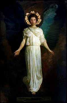 """Abbott H. Thayer """"A Winged Figure"""" 1904 Model: Gladys Thayer (daughter) Oil and canvas; gold leaf on paper Freer Gallery of Art, Washington D. Abbott Handerson Thayer [American artist, naturalist and teacher. Angels Among Us, Angels And Demons, Arte Do Galo, I Believe In Angels, Pre Raphaelite, Guardian Angels, Oil Painting Reproductions, Classical Art, Angel Art"""