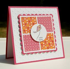 handmade card from Live, Laugh, and Stamp with Karen ... square card ... square pane with scalloped mat ... four squares of patterned paper inside ... quilt look ... punched circle with kite popped over the middle ... luv the warm pinks and orange with white ... pretty card ... Stampin' Up!