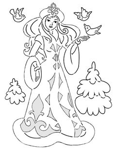 Santa Claus and the Snow Maiden - 188 photos - - Bird Coloring Pages, Coloring For Kids, Adult Coloring Pages, Coloring Books, Kirigami, Christmas Coloring Sheets, Pyrography Patterns, Needlepoint Stitches, Christmas Templates