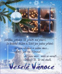 Vánoční přání - Obrázková přání Christmas Bulbs, Merry Christmas, Xmas Cards, Champagne, Scrapbook, Holiday Decor, Home Decor, Google, Quotes