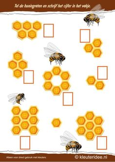 Tel de honingraten , kleuteridee.nl , thema bijen voor kleuters, Count the honeycombs , bees theme for preschool , free printable.
