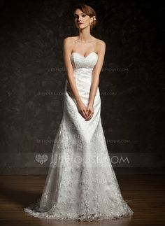 A-Line/Princess Sweetheart Court Train Satin Lace Wedding Dress With Ruffle (002012909)