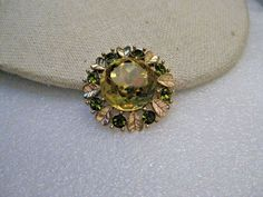 "Vintage Avon Rhinestone & Heart Brooch/Pendant, Sun Brilliant, 1.25"", 1970's #Avon #Pendantandbroochcombination"