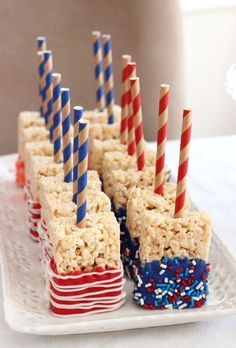 Red, White and Blue Rice Krispie treats for the 4th of July and Memorial Day bbq's!