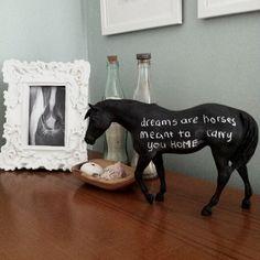 chalk message jewelry | DIY Chalkboard Horse ( source )