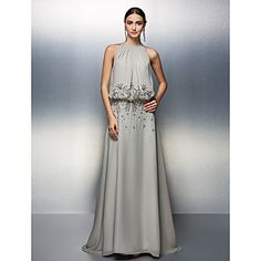 TS Couture® Prom / Formal Evening Dress - Silver Plus Sizes / Petite A-line Jewel Floor-length Chiffon – USD $ 129.99