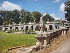Fontana di Eolo in the Garden of the Royal Palace of Caserta Italy  #caserta #italy #travel #palace #garden #fountain #fontanadieolo #water #statue #bluesky #clouds #galaxys6