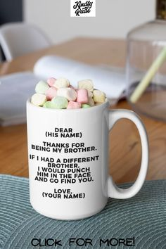 Your brother deserves a special gift for his love and dedication. Funny brother mug is appropriate as retirement gift, birthday gift, promotion gift, graduation gift, Easter gift, Mother's Day gift, Best Friends Day gift, Father's Day gift, Labor Day gift, National Coffee Day gift, Thanksgiving Day gift, Christmas gift, New Years gift, Valentine's Day gift.