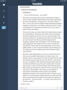 Why I ship Destiel. Bless your amazing soul, you wonderful shipper, you. :) || Sorry that was just my heart breaking..