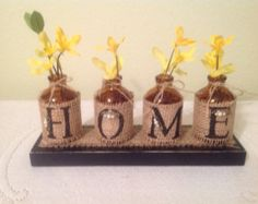Farm Home Decor.Upcycled Bottles.HOME by CraftsByJoyice on Etsy