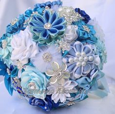 Fabric Wedding Bouquet brooch bouquet Blue Lagoon Blue by LIKKO