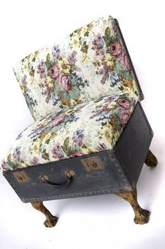 suitcase chair tapestry print 2 399x600 Suitcase chairs in furniture fabric art with suitcase Repurposed Furniture Chair Bench #ChairBench #ChairFabric