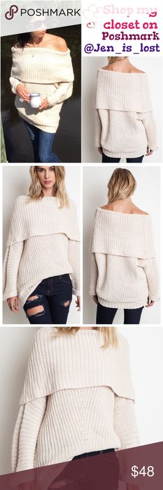 Coming Soon  Description: Fold Over Ribbed Sweater  Color: Cream Fabric: 65% cotton 35% polyester Sweaters