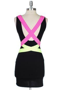 Neon Strap Bodycon Dress, $42.00