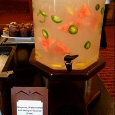 Jalapeño, Watermelon, Mango flavored water - compliments of the JW Marriott Star Pass in Tucson. Flavored Water Recipes, Flavored Waters, Beverages, Drinks, Yummy Food, Yummy Recipes, Compliments, Watermelon, Mango