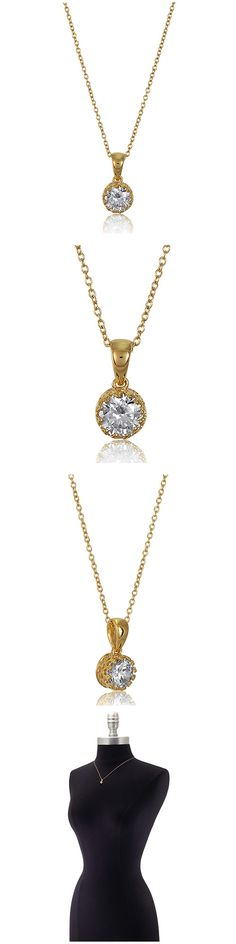 Gold Plated 925 Silver Round CZ Solitaire Fashion Necklace