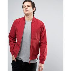 Jack & Jones Originals Bomber Jacket (£35) ❤ liked on Polyvore featuring men's fashion, men's clothing, men's outerwear, men's jackets, red, tall mens jackets, mens red bomber jacket and mens red jacket