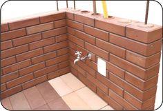 Tipos de Ladrillos Ticholos/Galería LTeco Ladrillo Ticholo Ecológico Uruguay The Block, Brick Block, Interlocking Bricks, Brick Molding, Brick Construction, Social Housing, Ecology, Bungalow, My House