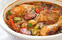Cajun Drumsticks with Sausage and Okra   Daydream Kitchen - Add some Henshelwood's Cajun mustard for a real spicy flavour