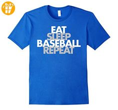 Eat Sleep Baseball Repeat Fan Sports Player Shirt Herren, Größe M Königsblau (*Partner-Link)