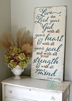 """""""Love the Lord your God"""" Wood Sign {customizable} - Aimee Weaver Designs, LLC Pallet Art, Pallet Signs, Painted Signs, Wooden Signs, Wooden Boards, Rustic Signs, Hand Painted, Scripture Signs, Scriptures"""
