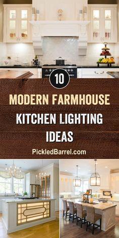 Modern Farmhouse Kitchen Lighting Ideas - All For House İdeas Kitchen Bar Lights, Kitchen Island Lighting Modern, Ceiling Fan In Kitchen, Kitchen Lighting Design, Farmhouse Kitchen Lighting, Farmhouse Kitchen Island, Farmhouse Light Fixtures, Modern Farmhouse Kitchens, Kitchen Design