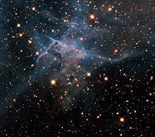 """Hubble Space Telescope - Near-infrared-light image from WFC3 of """"Mystic Mountain"""" in the stellar nursery of Carina Nebula. More stars can be seen because of transparency to heat"""