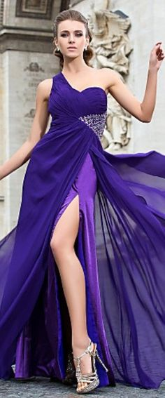 Sheath/Column One Shoulder Floor-length Chiffon Evening Dress ~ purple