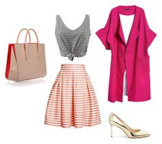 Pink Stripes by ma-ri-i on Polyvore featuring мода, WithChic, Merci Me London, Rumour London, Jimmy Choo and Christian Louboutin