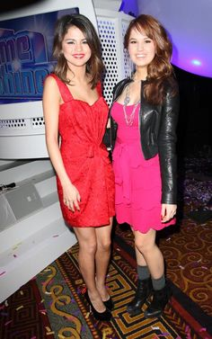 Selena Gomez and Debby Ryan at the Disney Upfront on March 16, 2011.