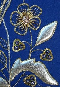 Jacobean Style Flower ~ gold embroidery by Kathleen Laurel Sage Gold Embroidery, Crewel Embroidery, Embroidery Designs, Pebble Painting, Pebble Art, Gold Work, Needlework, Metallic Thread, Embellishments