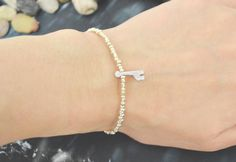 C-156 Silver Beaded bracelet, Seed beads bracelet, Giraffe bracelet, Simple, Modern bracelet, Silver plated/Everyday jewelry/