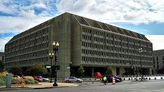 Hubert H. Humphrey Building, headquarters of the U.S. Department of Health and Human Services, Washington, D.C.  An example of Brutalism, a style based upon machine aesthetics.