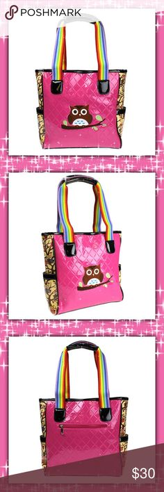 "OWL TOTE 😍 This is a great Tote!! Details: Size: 12"" W x 12.5"" H x 3.5"" Deep Color: Fuchsia Style: Double handle zipper tote bag. Trendy style with diamond quilt like pvc body and decorated side trims. 2 side pockets, 1 rear zipper pocket. Owl print inside. 1 zipper pocket, 1 middle zipper pocket, and 2 open pockets. The stitching is awesome!! Awesome Christmas Gift 🎁 Bags Totes"