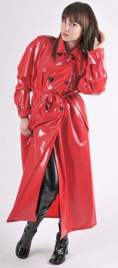 Red raincoat black rubber boots