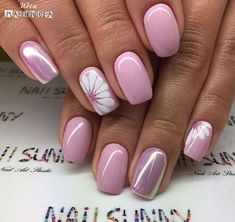 ideas for nails sencillas gelish Trendy Nails, Cute Nails, My Nails, Glitter Nails, Pink Glitter, Pointy Nails, Flower Nail Designs, Nail Designs Spring, Easter Nail Designs