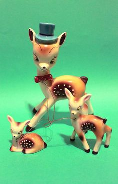 Vintage 50s Collectibles Home Decor Deer Ceramic For Her Adorable Gift Women Retro Girls Kitsch Animal Figurine