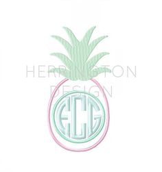 Pineapple Appliqué Embroidery Monogram Design by HerringtonDesign Embroidery Monogram, Applique Embroidery Designs, Embroidery Fonts, Custom Embroidery, Machine Embroidery, Circle Monogram, Monogram Frame, Monogram Design, Pineapple Monogram