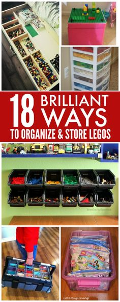Have you ever stepped on an out of place Lego? It's PAINFUL! Keep that from happening (hopefully) with these 18 Brilliant Ways to Organize & Store LEGOs! Also, your kids won't be asking where to find certain Lego pieces! Lego Sorting, Van Lego, Lego Table, Lego Storage, Storage Ideas, Lego Room, Lego House, Toy Rooms, Toy Organization