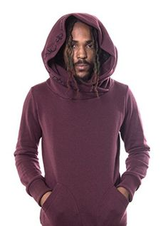 """Cowl Neck Hoodie for Men – Hooded Graphic Sweatshirts – By Street Habit  The Street Habit you won't want to quit. Allow yourself to be swept away and immersed into an urban style, that will have others dying to immitate, with this PlazmaLab """"Lovely Reaper"""" hooded tunic sweatshirt. A mens fashion must have, this cool hoodie is handmade from 100% cotton, available in colors olive green, red, blue and black, and features a slim fit, accompanied by a ribbed cuff and waist. Unique and exc.."""
