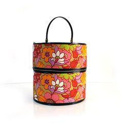 Groovy Vintage Hat Box / Kanner Hippie Flower Wig Carrier /