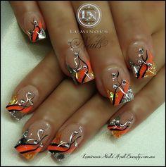 Peach, Mandarin & Silver... - nailartgallery.nailsmag.com Nail Art Gallery by nailsmag.com