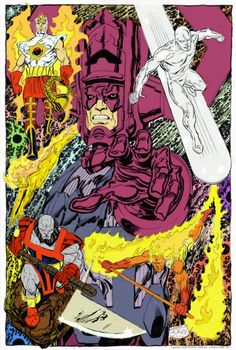 Galactus and his four Heralds, Gabriel the Air Walker,Silver Surfer, Firelord and Terrax the Tamer