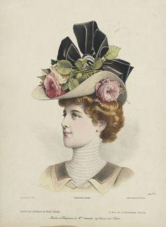 9b756db4fc5 Fashion Plate for  Société des Journaux de Modes Réunis . Victorian HatsVictorian  CostumeVictorian Women1890s ...