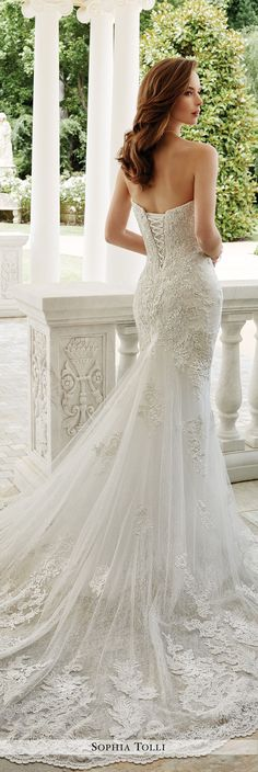 Sophia Tolli Fall 2016 Wedding Gown Collection - Style No. Y21674 Napoli - strapless lace fit and flare wedding dress with chapel length train